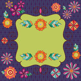 Abstract Floral Background with Frame Stock Photo