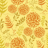 Abstract floral background with green and orange fern leaves Royalty Free Stock Image