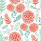 Abstract floral background with green and red fern leaves Royalty Free Stock Photo