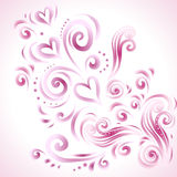 Abstract floral background with hearts in pink Stock Photos