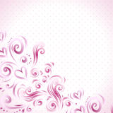 Abstract floral background with hearts in pink Royalty Free Stock Photography