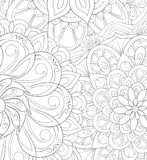 Adult coloring book,page an abstract floral background image for relaxing.Zen art style illustration royalty free stock photo