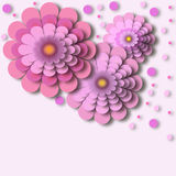 Abstract floral background - pink flowers with 3d effect. Elegant floral background - pink flowers with 3d effect and copy space for text. Beautiful stylish Royalty Free Stock Image