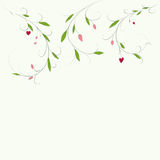 Abstract floral background with place for your text. Vector branch with leaves and hearts  greeting and invitation card. Royalty Free Stock Photos
