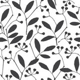 Abstract floral background. Seamless monochrome pattern with han Stock Photography