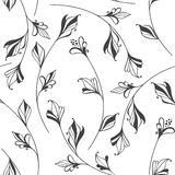 Abstract floral background. Seamless monochrome pattern with han Stock Image