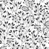 Abstract floral background. Seamless monochrome pattern with han Stock Photo