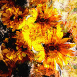 Abstract floral background with stylized bouquet of sunflowers Royalty Free Stock Photos