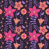 Abstract floral background, summer theme seamless pattern, vecto Royalty Free Stock Photos