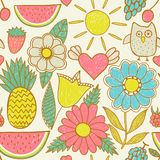 Abstract floral background, summer theme seamless pattern, vecto Stock Photo