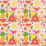 Abstract floral background, summer theme seamless pattern, vecto Royalty Free Stock Image