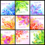 Abstract floral backgrounds. Set of 9 abstract floral backgrounds Stock Image