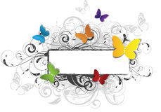 Abstract floral banner with butterflies Stock Photography