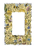 Abstract floral banners with bees, sketch for your design Stock Photography