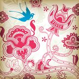 Abstract Floral and Bird Royalty Free Stock Image