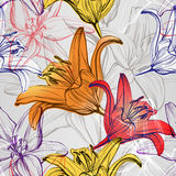 Abstract floral blooming lilies background texture hand drawn vector illustration Stock Photography