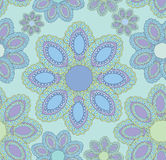 Abstract floral blue seamless pattern. Floral pattern seamless. Indian ornament, kaleidoscopic floral pattern. Mandala ethnic pattern. Elegant wallpaper Vector Illustration
