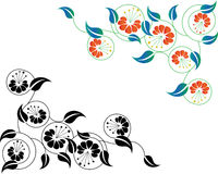 Abstract floral border. Corner in color and black. -  illustration Royalty Free Stock Photos