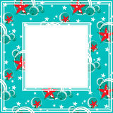 Abstract floral border. On a blue background Stock Photography