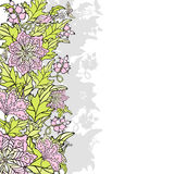 Abstract floral border. Abstract colored floral border with flowers, berries and butterflies Stock Photography