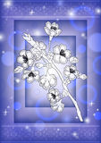 Abstract floral branch with background. Illustration of abstract floral branch on background with ornamental borders Royalty Free Stock Images