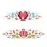 Abstract floral bright composition on white background . Vector background . Floral pattern . Set of two floral borders stock illustration