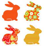 Abstract floral bunnies set Royalty Free Stock Image