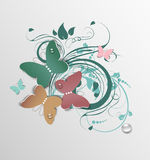Abstract floral  with butterflies Royalty Free Stock Image