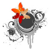 Abstract floral  with butterflies Stock Photo