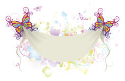 Abstract floral butterfly banner background stock illustration