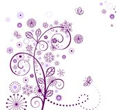 Abstract floral card. Violet greeting card Stock Photos