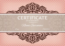 Certificate of achievement. Abstract floral certificate of achievement vector illustration Stock Images