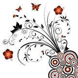 Abstract floral chaos. With butterfly, element for design, vector illustration Royalty Free Stock Photos