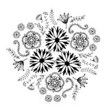 Abstract floral circle with doodle flowers. Round zentangle for coloring book pages Royalty Free Stock Images