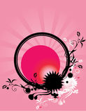 Abstract floral circle pink background 2. Pink ray background with abstract floral circle design in pink black and white royalty free illustration