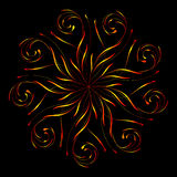 Abstract floral circular ornament in yellow and red colors on black Stock Photos