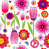 Abstract floral colorful wallpaper with hippie symbolic Stock Images