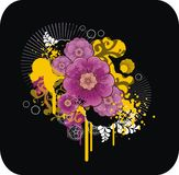 Abstract floral composition. With grunge elements Royalty Free Stock Images