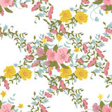 Abstract floral composition with large and small pink, blue and yellow colors Royalty Free Stock Photography