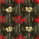 Abstract floral 3d vector seamless pattern. Grid ornamental geometric background. Beautiful red and gold 3d flowers, geometric shapes, circles. Lattice hand Royalty Free Stock Image