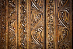 Abstract floral decoration carved on a door Stock Photo