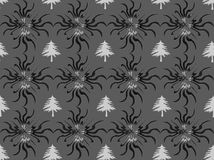 Abstract. Floral design blend of lines and dots of gray background, flower / leaf / plant design / ornament with a blend of grayish white, black, white Royalty Free Stock Images