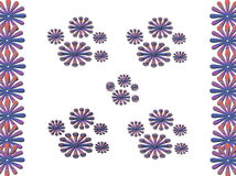 Abstract. Floral design blend of lines and dots of white background, purple gradation flower design / ornament, purplish blue, gorgeous reddish brown Royalty Free Stock Image