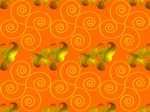 Abstract. Floral design combination of lines and dots background dark yellow color, design forms a line of plants / leaves / line spiral sunny yellow, golden Stock Photo
