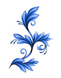 Abstract floral design element, blue gzhel ornament isolated Stock Images