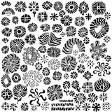 Abstract Floral Design Elements Vectors. A collection of over 80 abstract, hand-drawn floral design elements in format stock illustration