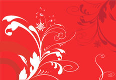 Abstract floral designs. On red background Royalty Free Stock Photography