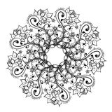 Abstract floral doodle background pattern. A circular ornament. Royalty Free Stock Photo