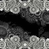 Abstract floral doodle pattern with paisley. Stock Images