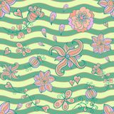 Abstract floral doodle vector seamless pattern Stock Photography